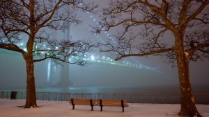ziemos vakaras mieste